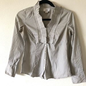Loft Ruffle button down shirt